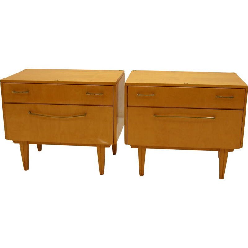 Pair of vintage bedside tables with drawer and flap 1960