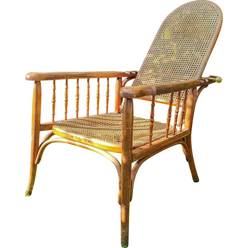 Vintage adjustable bentwood armchair Fischel 1910