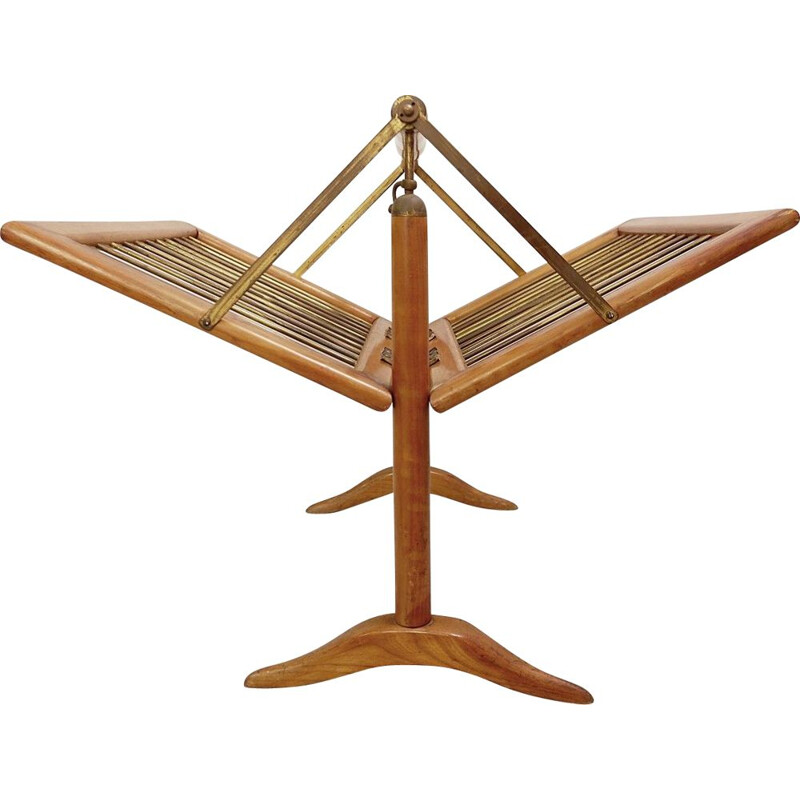 Vintage magazine rack in Wood and Brass by Cesare Lacca, 1950