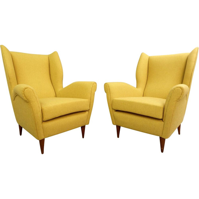 Pair of vintage high back armchairs by Gio Ponti 1950 new curry yellow upholstery