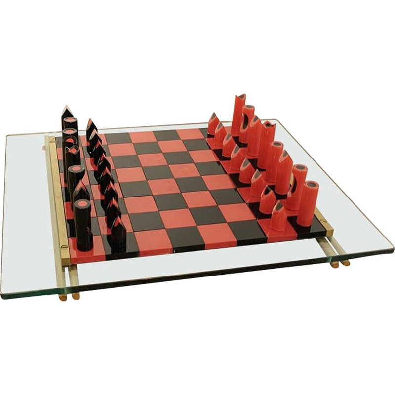 Vintage Glass Chess Game Murano by Mario Ticco for VeArt, Italy, 1983