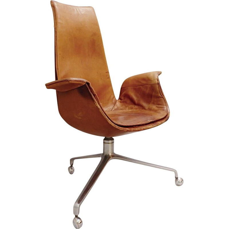 Vintage Office Armchair by Fabricius and Kastholm in Cognac Leather