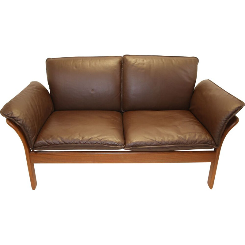 Vintage two-seater leather sofa Dreipunkt