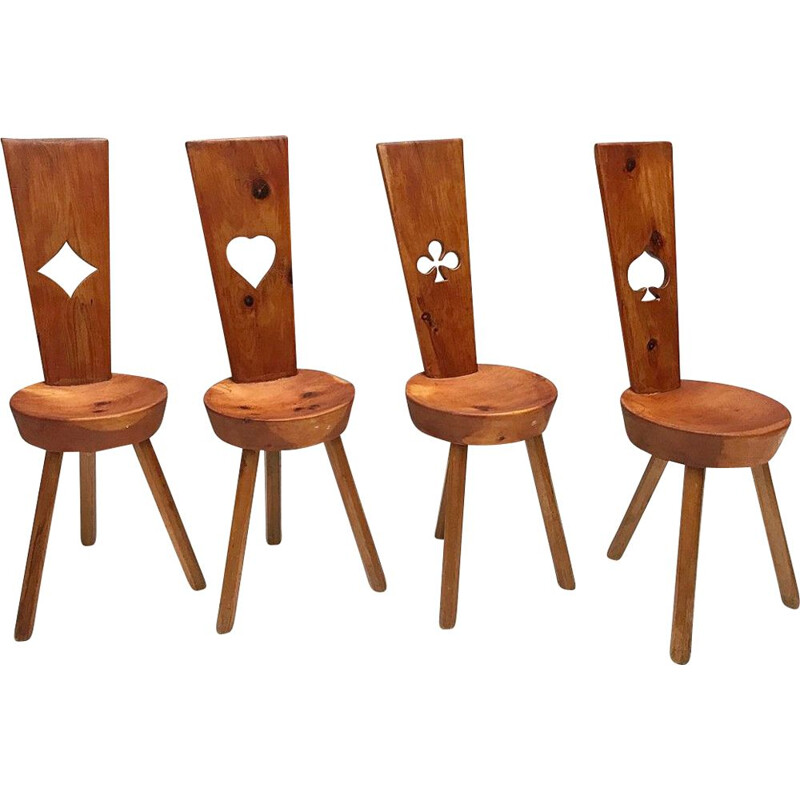 Set of 4 vintage wooden chairs