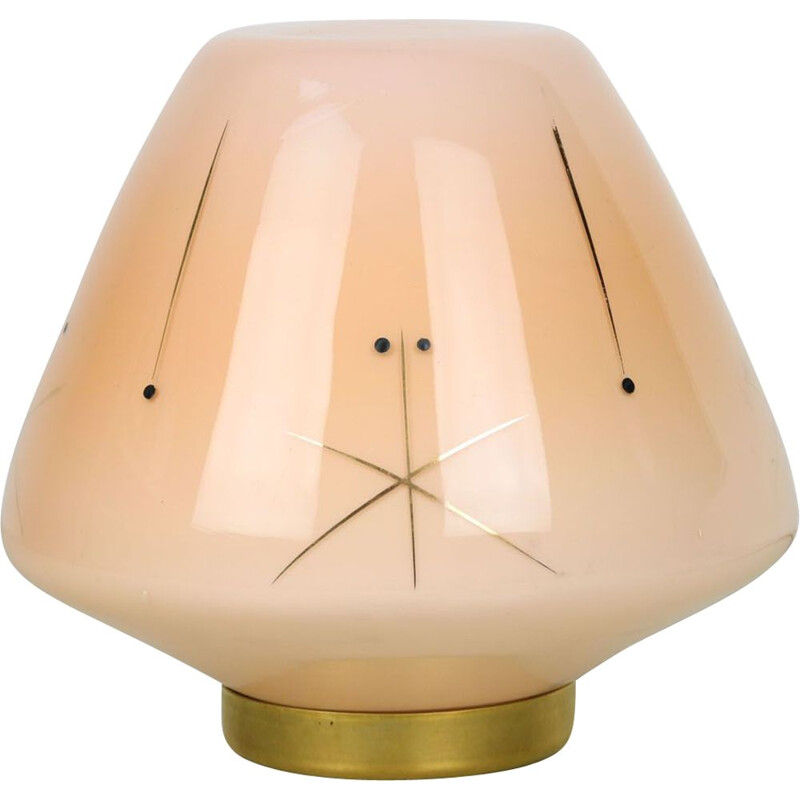 Midcentury glass & brass table lamp