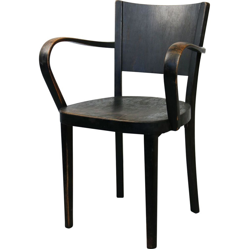 Vintage Black Bentwood armchair from Thonet 1930s