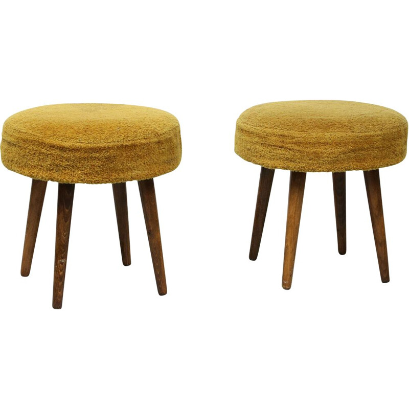 Pair of midcentury yellow tabouret stool
