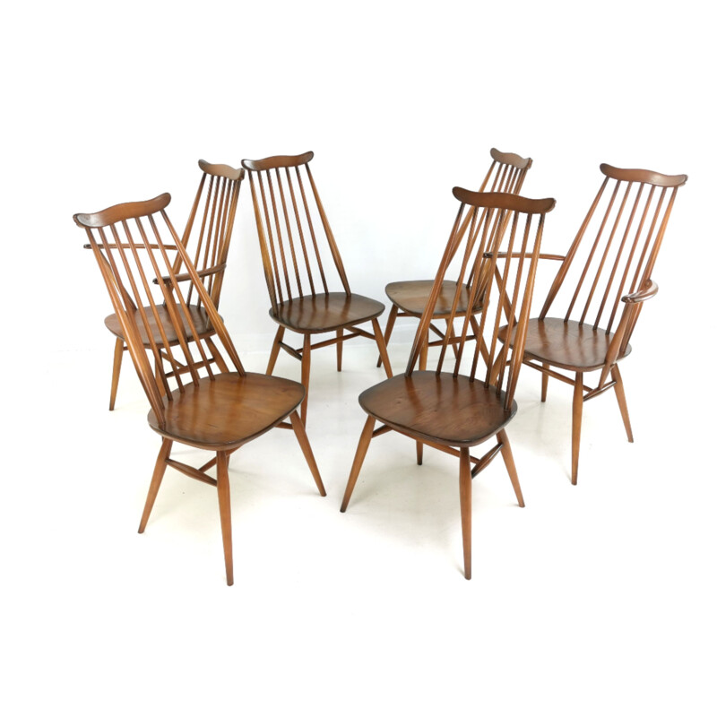 Set Of 6 Vintage Ercol Elm & Beech Goldsmith Dining Chairs
