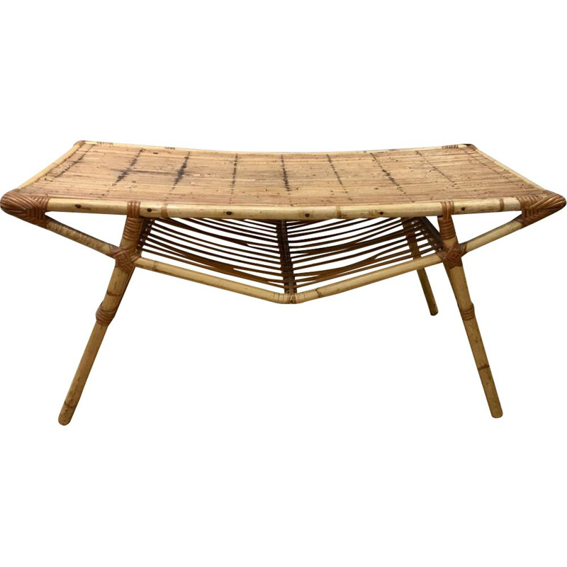 Vintage rectangular rattan coffee table 1950s