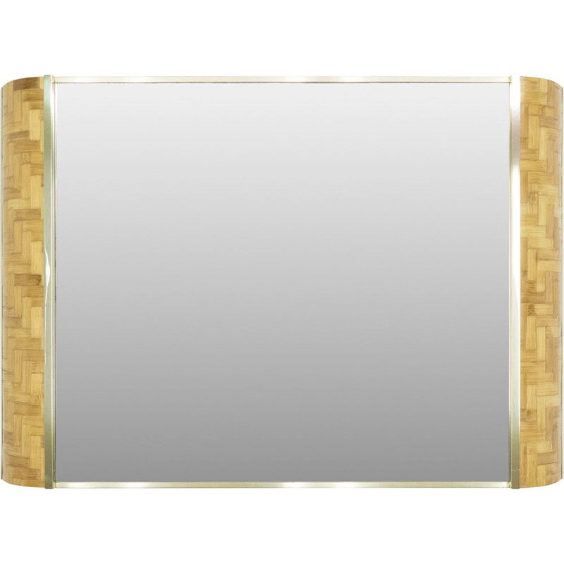 Vintage Italian bamboo and brass mirror by Dal Vera 1970s