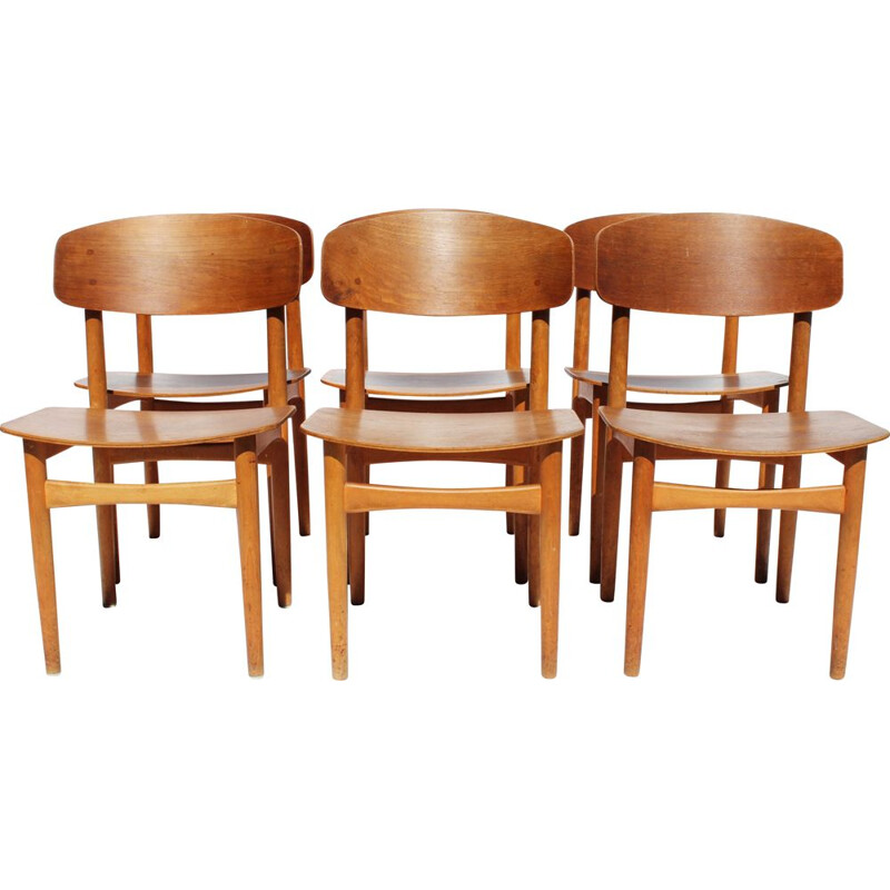 Set of 6 vintage dining chairs in teak by Borge Mogensen 1960s