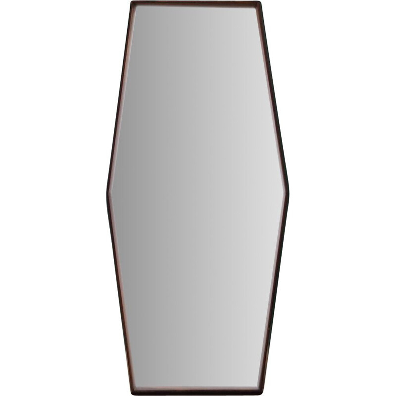 Vintage rosewood Mirror by TH Poss scandinavian 1960s