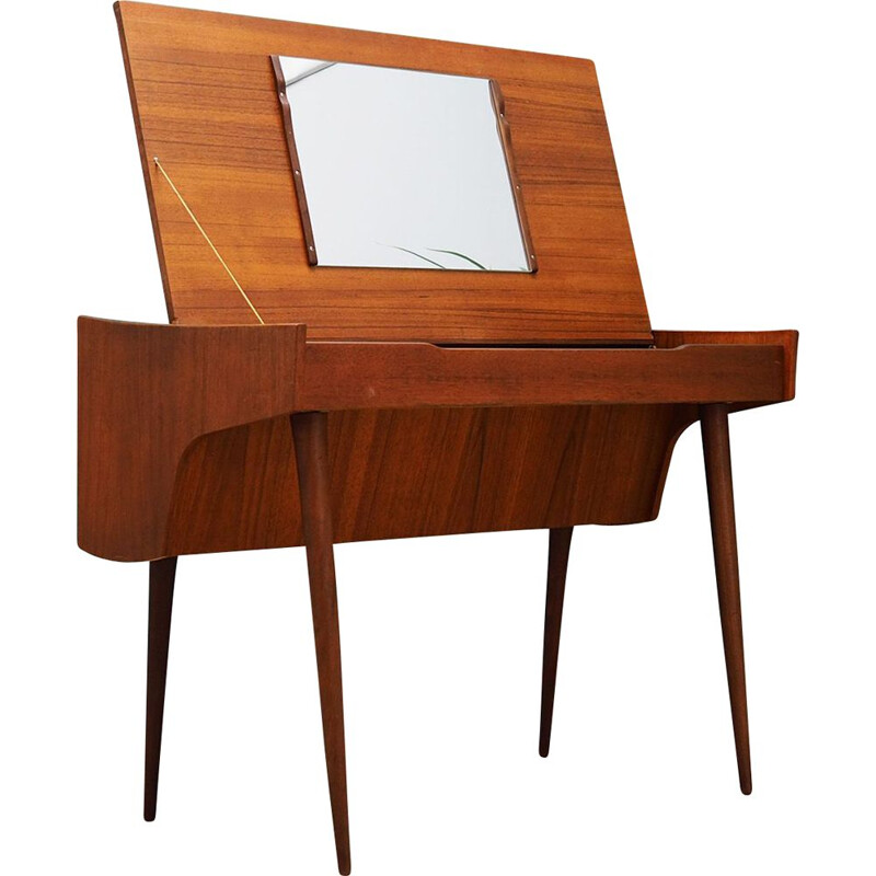 Vintage teak dressing table with mirror, 1960s