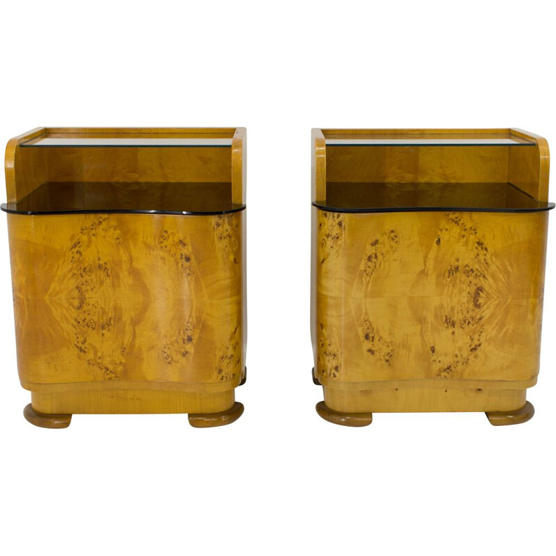 Pair of vintage Bedside Tables by Halabala for UP Zavody Czechoslovakia 1940s
