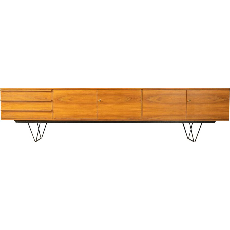 Vintage sideboard in walnut veneer with three drawers Germany 1960s
