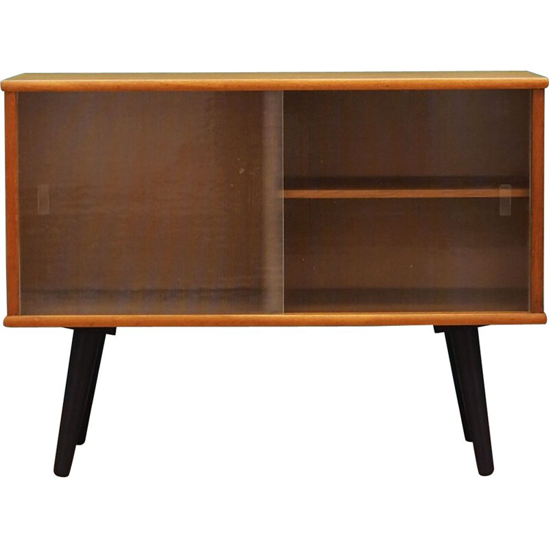 Vintage Scandinavian small bookcase in wood and glass 1960