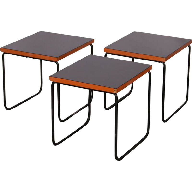 Suite of 3 vintage coffee tables Pierre Guariche, 1950