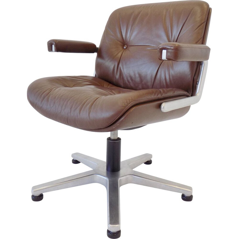 Vintage brown leather office chair by Karl Dittert Martin Stoll
