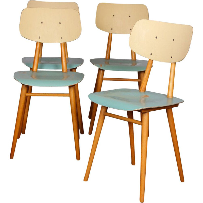 Set of 4 vintage blue chairs with cream backrest by Ton Czech Republic 1960
