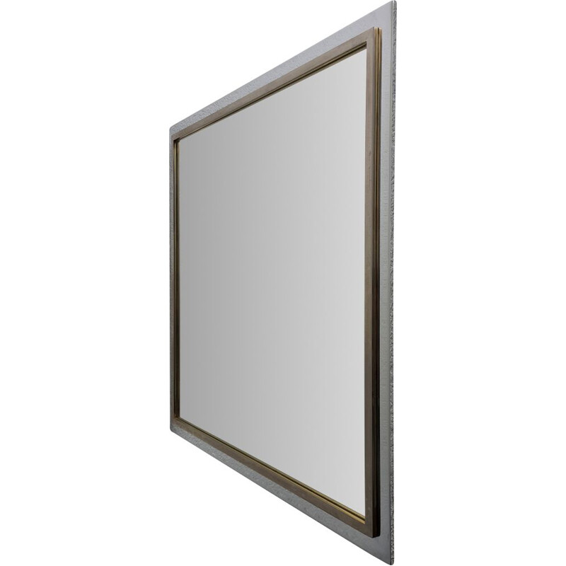 Large vintage square gold & chrome plated mirror by Belgo Chrom, 1970s
