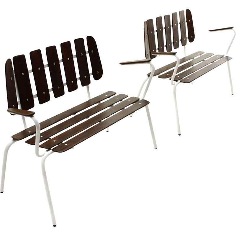 Pair of vintage white metal benches with wooden slats, 1950s