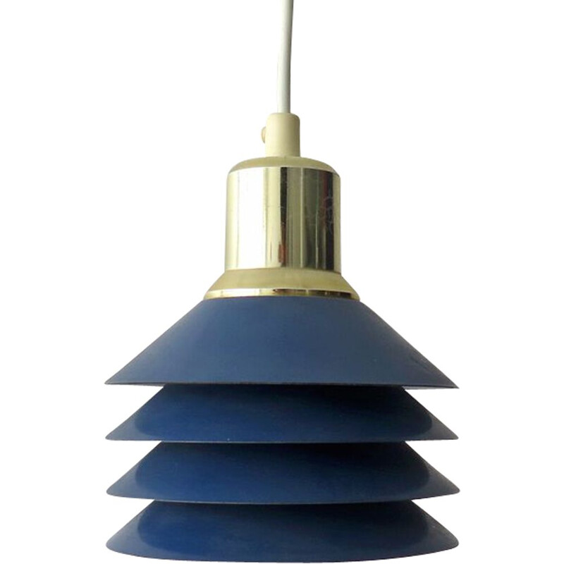 Vintage blue pendant lamp, Danish 1980