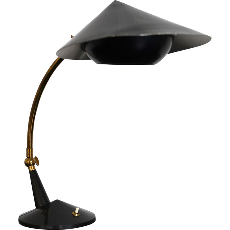 Vintage brass and black lacquer table lamp by Stilnovo Italian 1950s