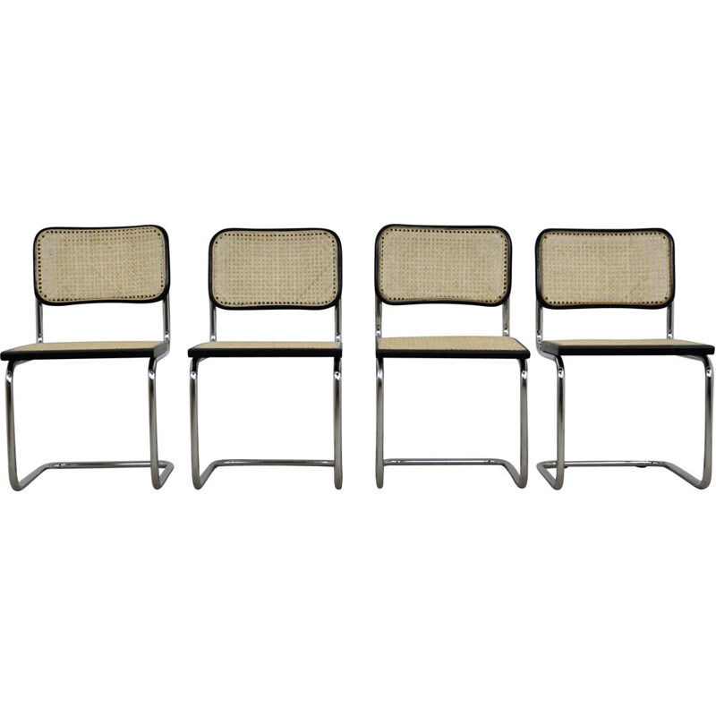 Set 4 vintage Black Dinning Style Chairs B32 By Marcel Breuer 1980s