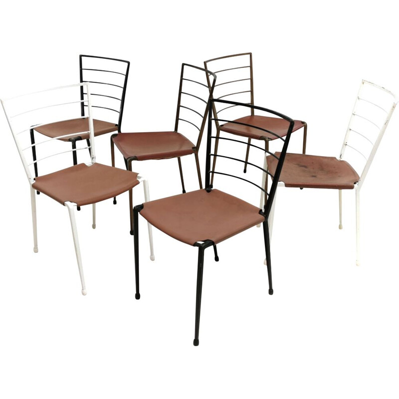 6 Vintage Robert Heal Ladderax Metal Dining Chairs
