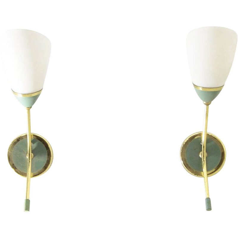 Pair of vintage wall lamps in brass and opal glass, 1950s