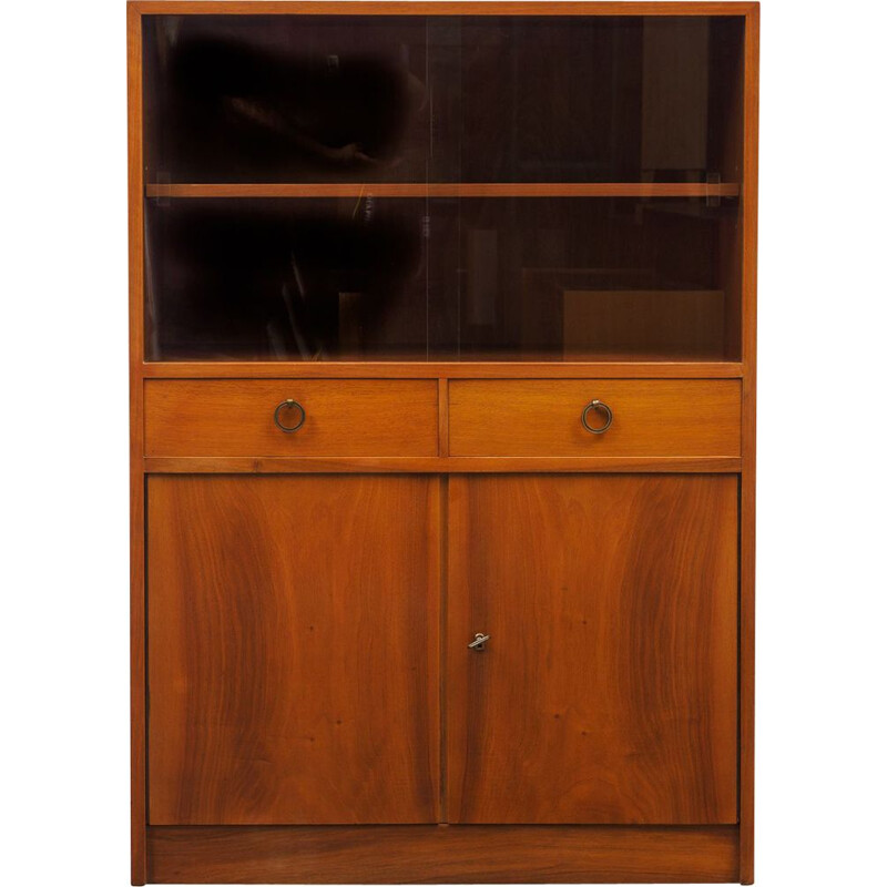 Vintage walnut cabinet with glass display 1950s
