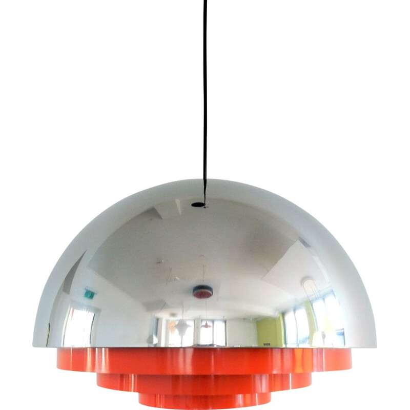 "Vintage Chrome and orange ""Milieu Maxi"" pendant lamp by Jo Hammerborg for Fog and Mørup, Denmark 1970s"