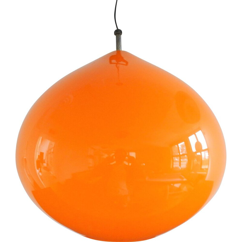 Large Vintage orange 'Onion' pendant lamp by Alessandro Pianon for Vistosi, Italy 1950s