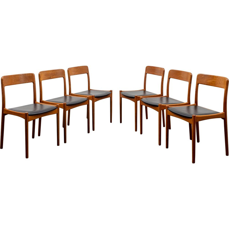 Set of 6 vintage teak dining room chairs, Scandinavian style, 1960s