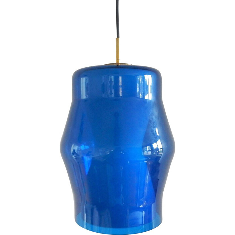 Vintage blue and white glass pendant lamp, 1960s