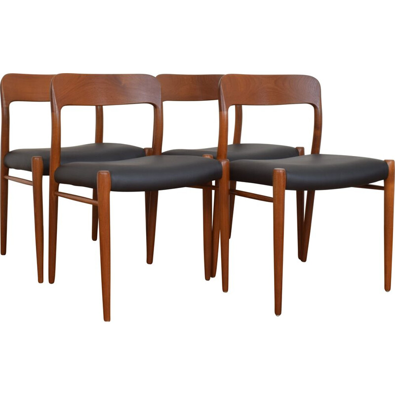 Pair of Mid-Century Teak & Leather Chairs by N. O. Møller for J.L. Møller, Danish 1960s