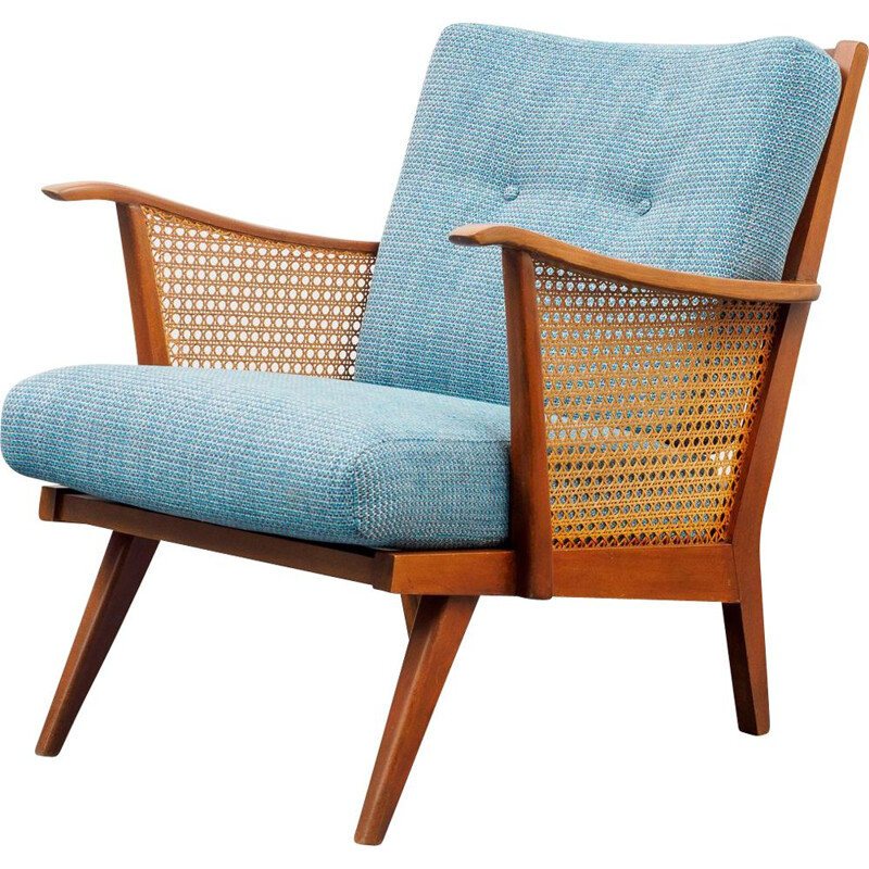 armchair in beechwood with Viennese weave newly upholstered 1950s
