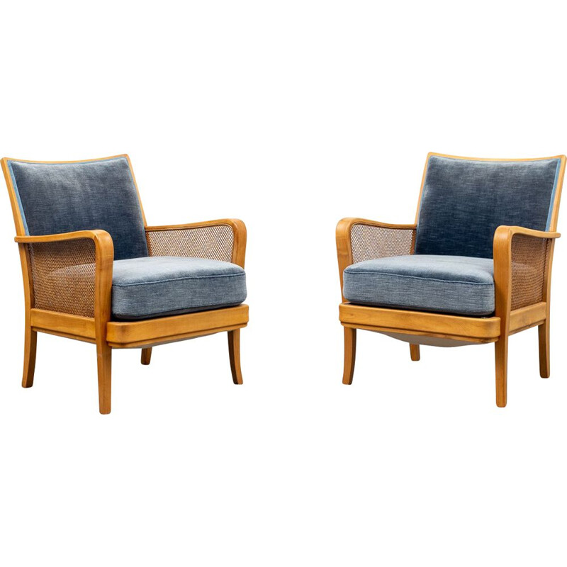 Vintage cherryvwood armchair with bast armrests 1950s