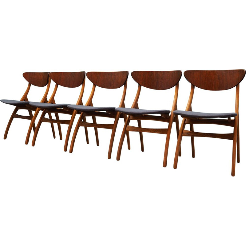Set of 5 vintage teak chairs, 1970