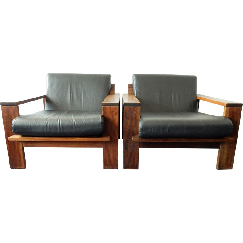 Pair of vintage cubistic loungechairs, 1960s