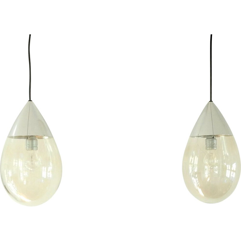 Pair of vintage glass drop pendant lamps for Glashütte Limburg, Germany 1960s