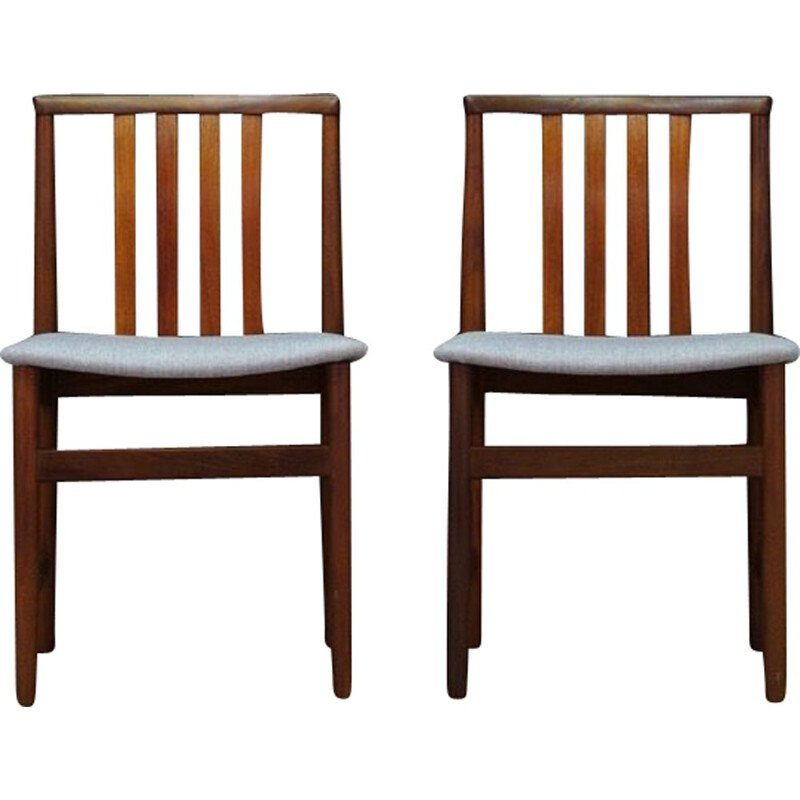 Pair of vintage gray chairs in teak Scandinavian 1970