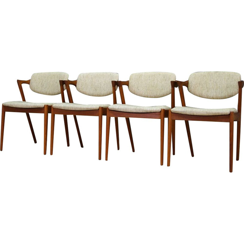 Set of 4 chairs vintage by Kai Kristiansen 1960s