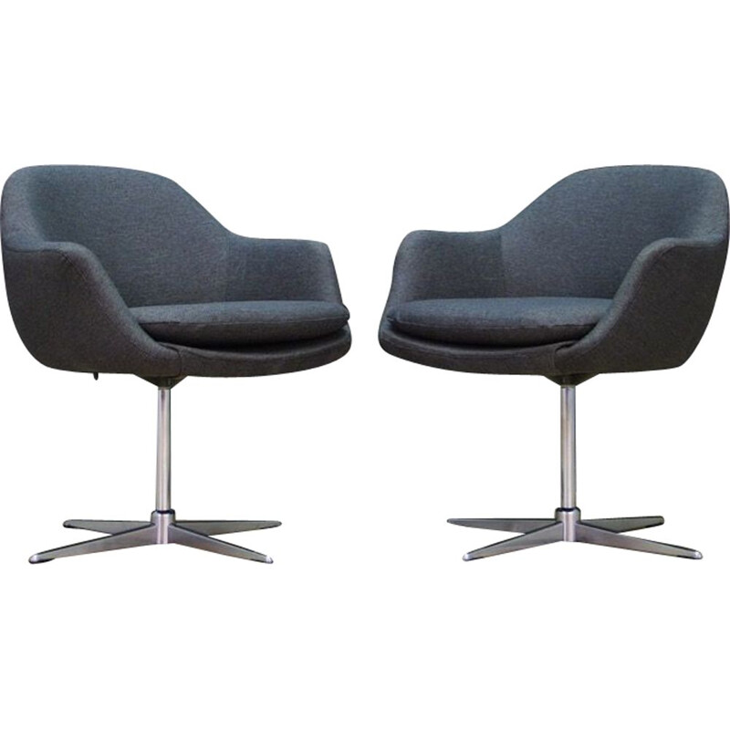 Pair of Vintage armchairs gray Scandinavian 1970s
