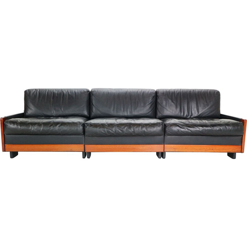 Vintage Scarpa Black Leather 3-Seat Sofa for Cassina Model-920 Afra & Tobia  1960s