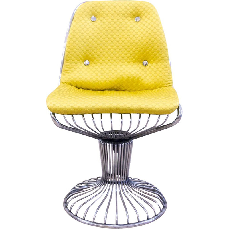 Vintage Metal Wire Swivel Chair, 1960s