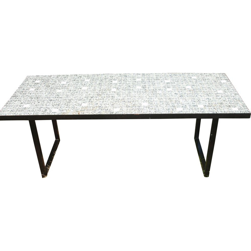 Vintage coffee table for living room in grey and white ceramic 1970