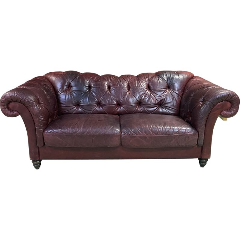 Large vintage leather Chesterfield sofa 1970