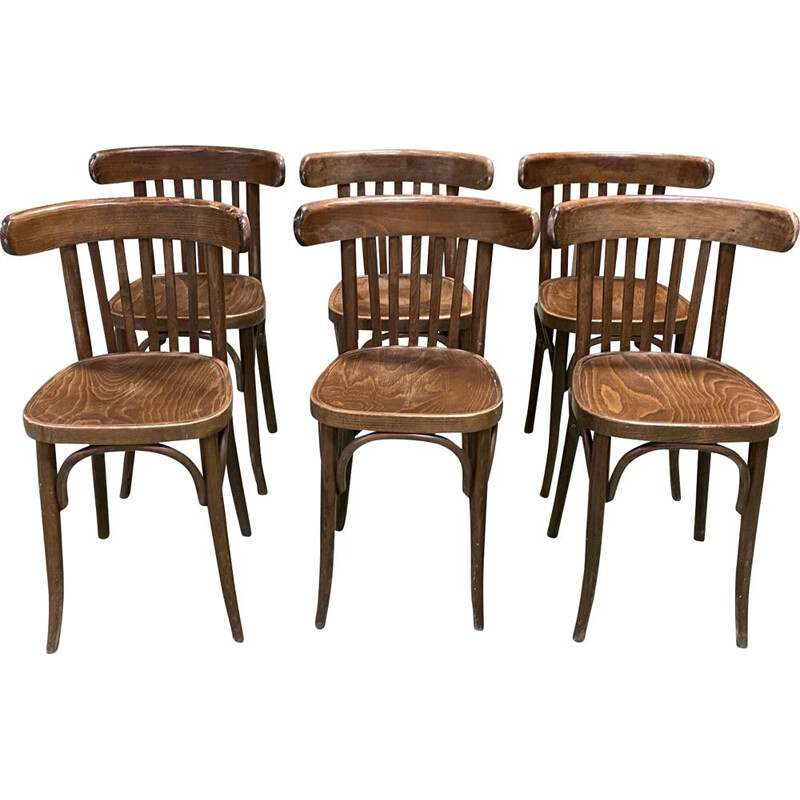 Suite of 6 vintage bistro chairs in turned wood 1930