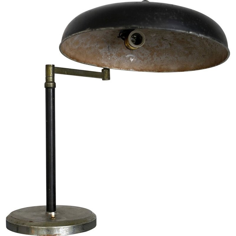Vintage black lacquer and nickel desk lamp Italian 1940s
